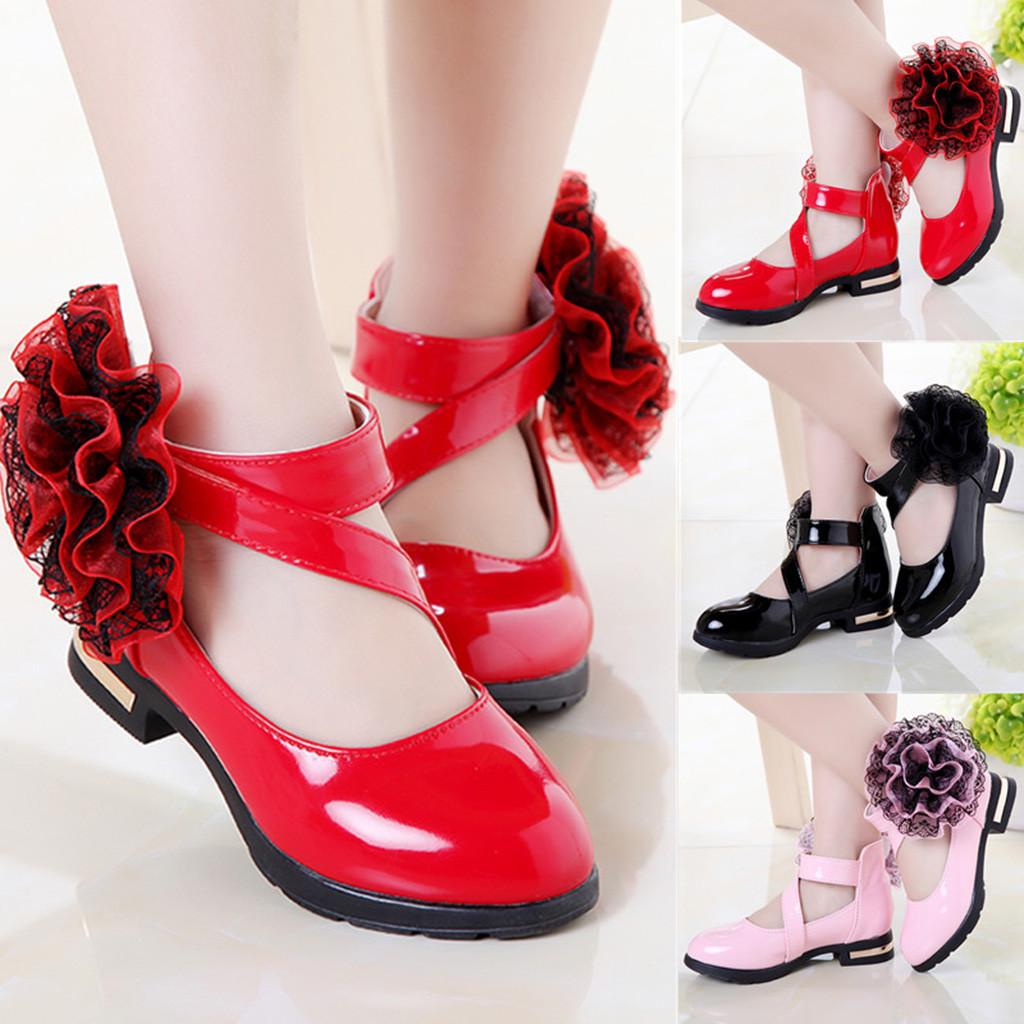 Toddler Child Kid Baby Girls Flower Single Princess Leather Shoes Casual Sandals
