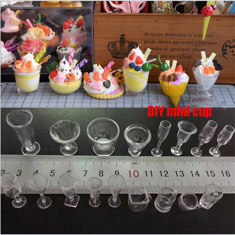 17Pc Clear Ice-Cream Sundae Mini Cup for Dollhouse Miniatures Food Supply Decor