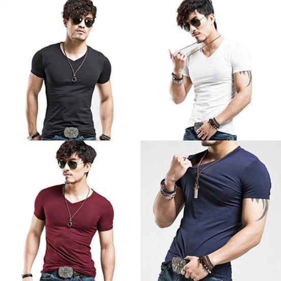 外贸货源批发 男装运动紧身男短袖v领t恤