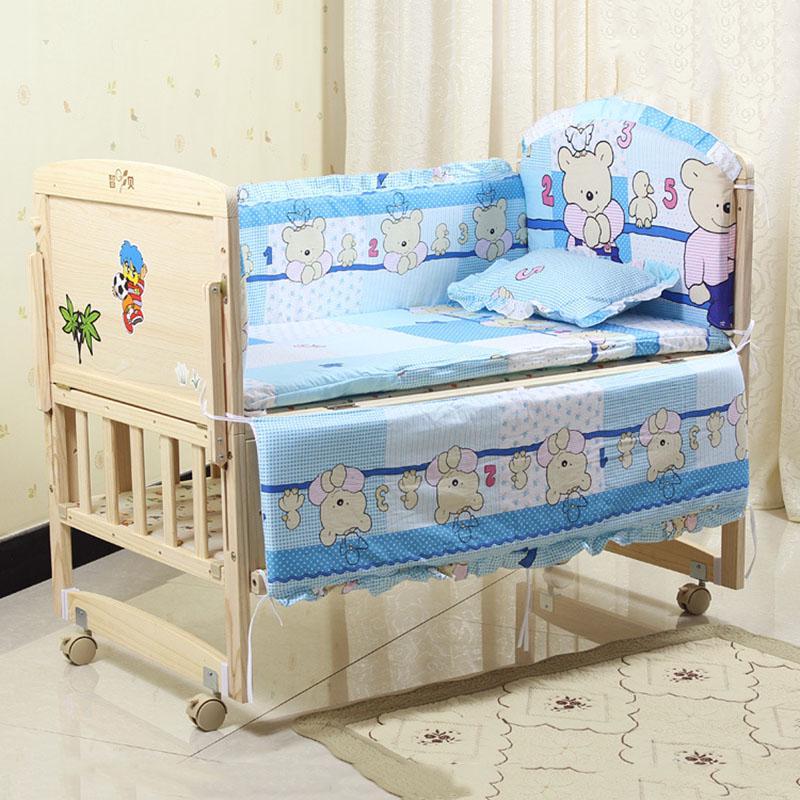 Set Crib Bed Bumper For Newborns 100/%Cotton Comfortable  Bed Protector 5PCS Set