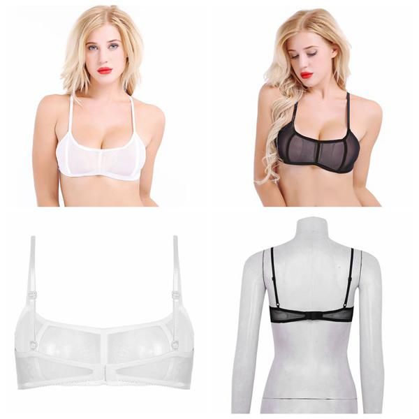 Women/'s Sheer Hollow Ultra-Thin Perspective Unlined Lace Bra No-Pad Push Up Bra
