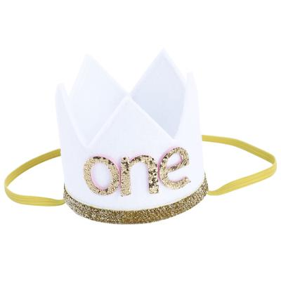 Baby Boy Girl First Birthday Hat Crown Numbers Headband Tiara Party Photo Props White One