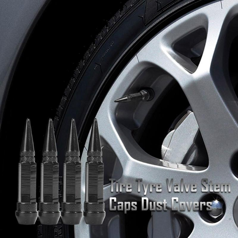 4Pcs Aluminum Alloy Spike Wheel Tire Valve Stem Auto Wheel Tyre Dust Stems Cover Car Truck Air Dust Caps Covers Wheel Valve Stem black