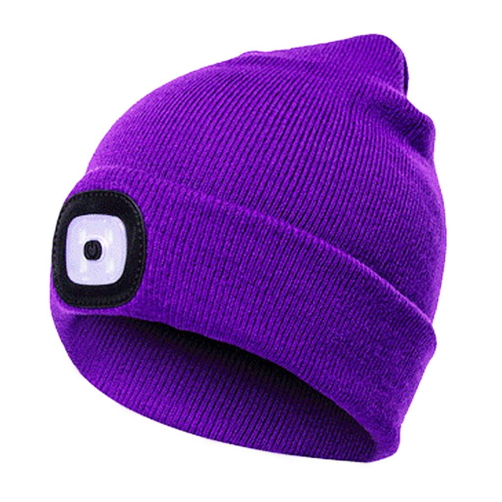 Unisex LED Light Winter Knitted Woolly Beanie Hat With USB Rechargeable Battery
