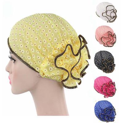 Women Ruffle Muslim Hat Cancer Chemo Cap Lace Flower Turban Hair Loss Caps