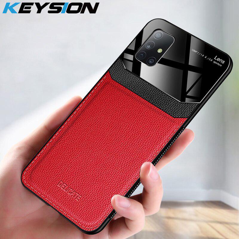 KEYSION Шоконепроницаемый Чешот Чешнул для Samsung A71 A51 A50S Кожа Зеркало Закаленное стекло Телефон Задняя крышка
