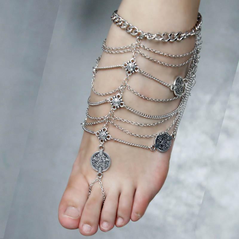 Frauen Türkis Tassel Beach Barfuß Sandale Fußkettchen Fuß Kette neu