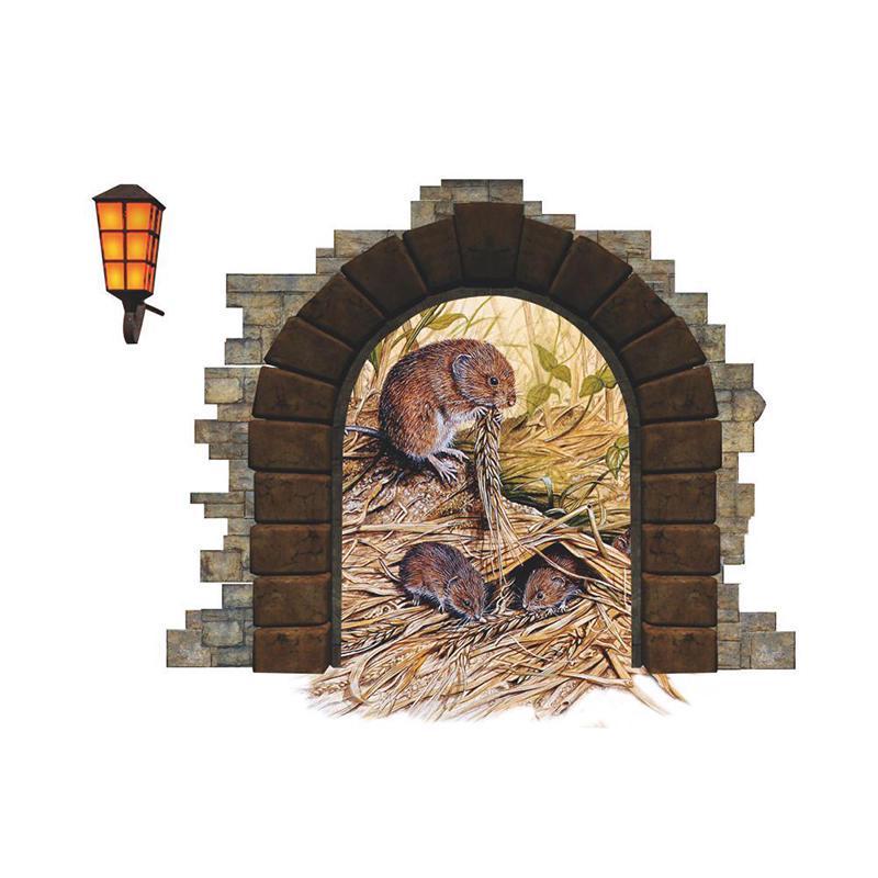 Съемный риса strawMouse отверстие Термоаппликации искусства росписи Главная декор стены стикер Обои фото
