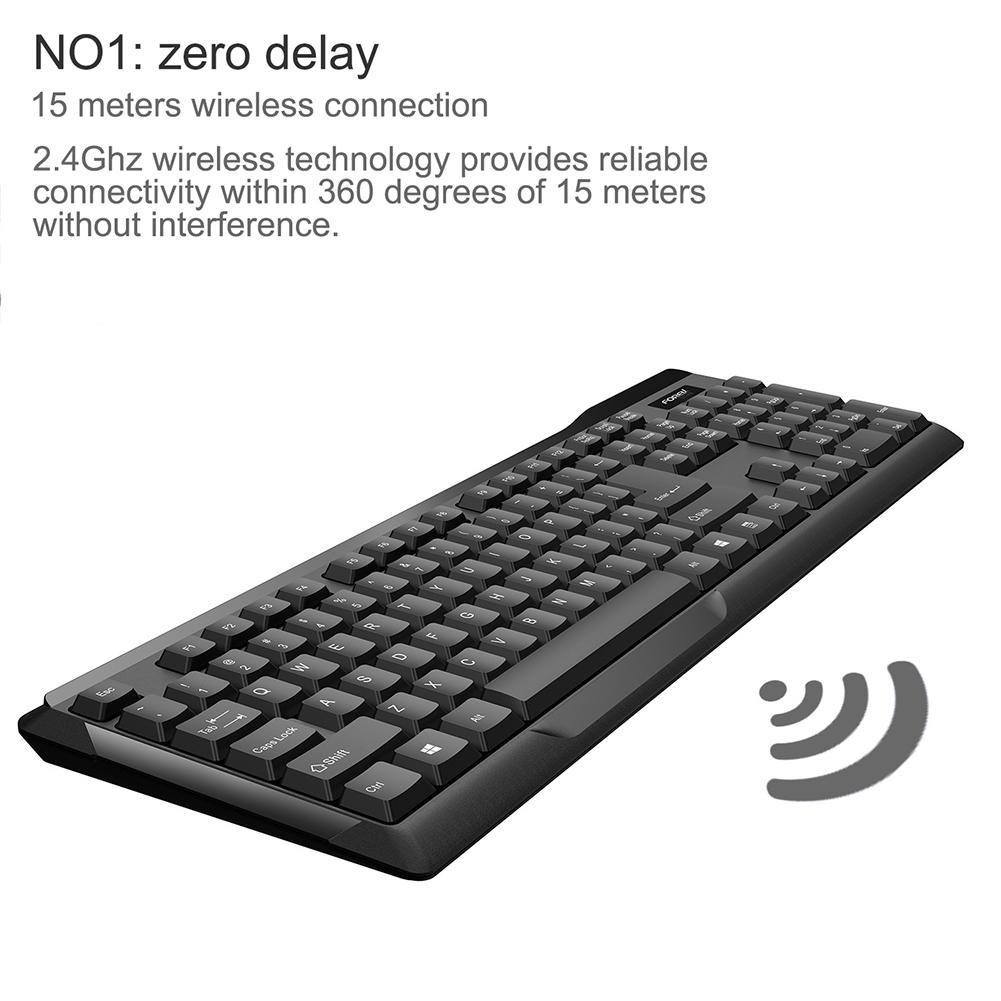 FV-300 2.4GHz Wireless Keyboard /& Mouse Set White