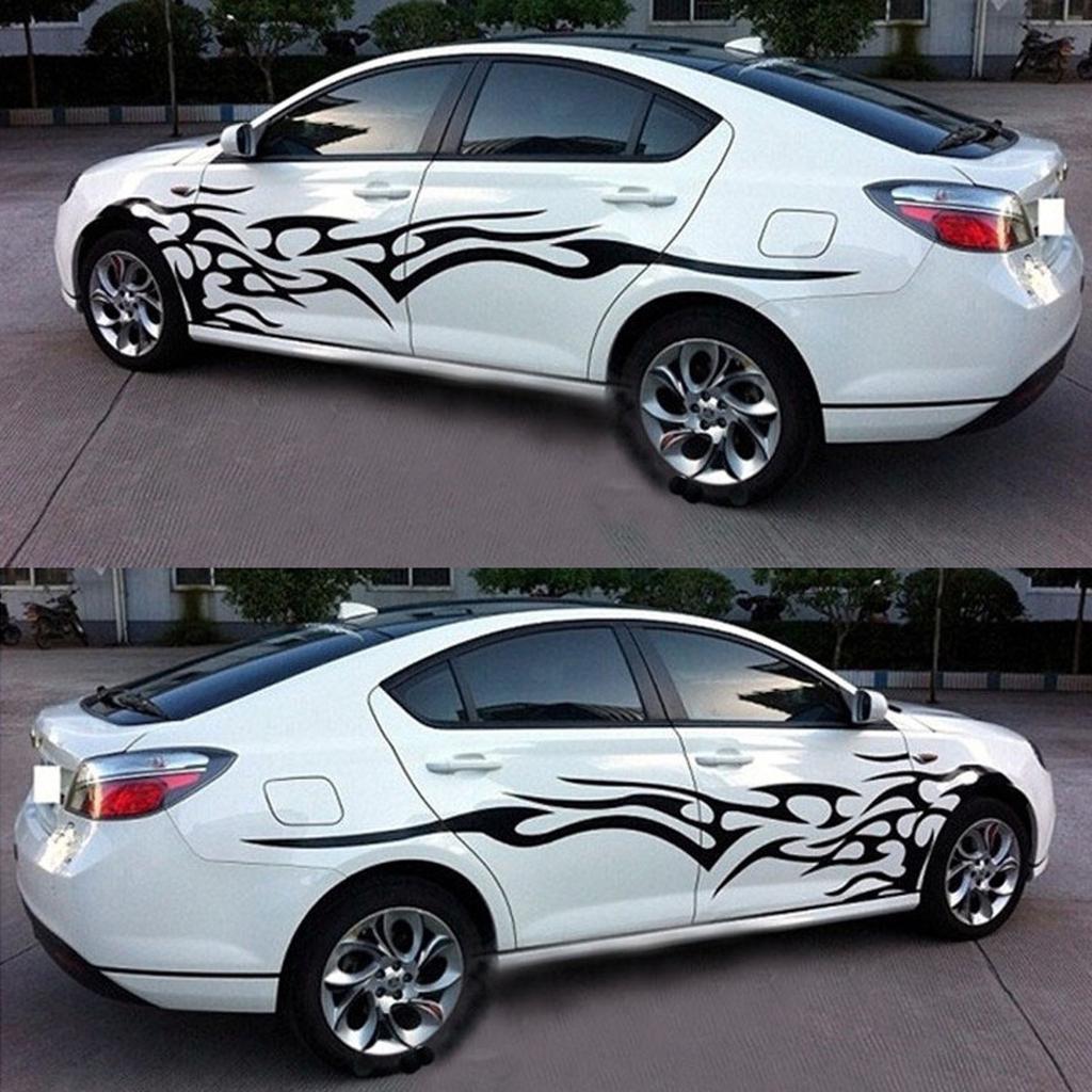 Paar Auto Taille Sports Styling DIY Lange Streifen Körper Seite Aufkleber
