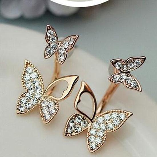 Продажа висячие бабочки Стад Серьги Два носить Мода Темперамент корейских серьги изобразительных ювелирных изделий фото