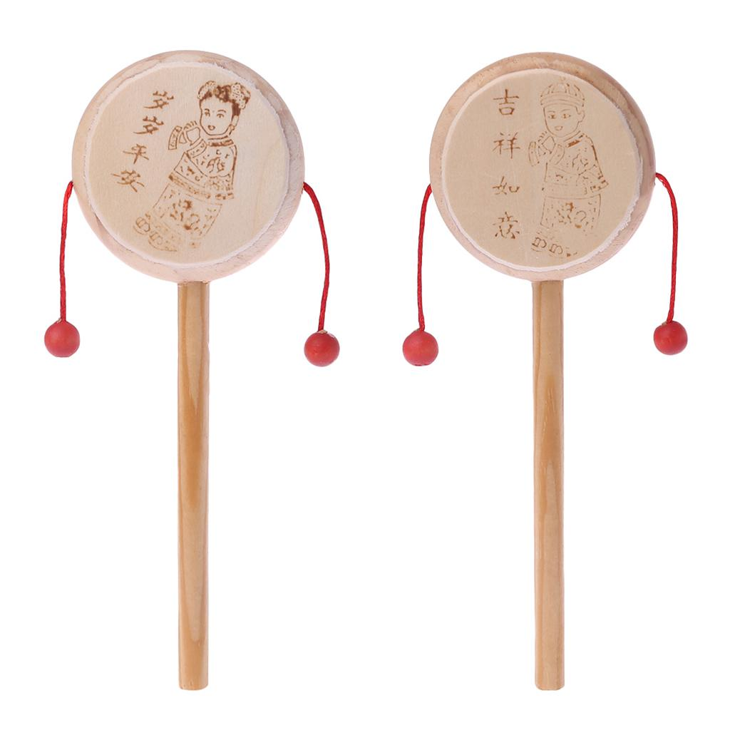 1 Pc Classic Chinese Traditional Hand Bell Rattle Drum Musical Puzzle Toys Kids