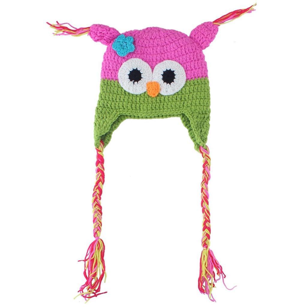 Crochet búho Animal niños bebé niñas flor Sombreros Gorras gorros ...