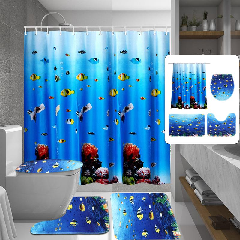 Bath Decor Bathroom Curtain Washable, Fish Bathroom Sets