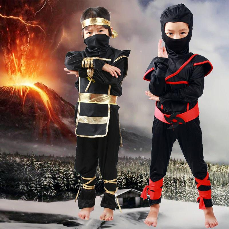 Boys Black Ninja Costume Accessories Kids Samurai Warrior Fancy Dress 8 Piece