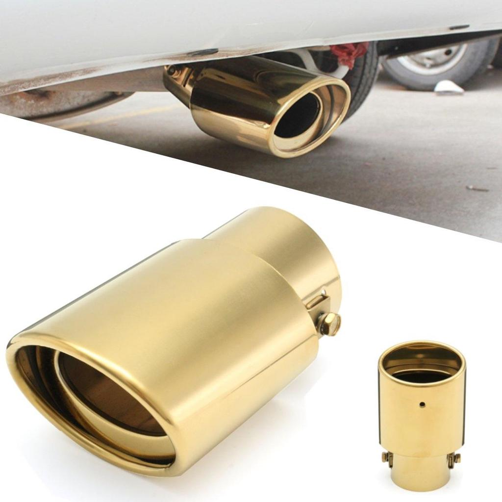Gold Tone Universal Rear Round Exhaust Muffler Tip Tail Throat Pipe for Car Auto