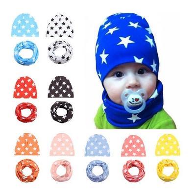 Bebé colorido patrón estrella impresión Beanie sombreros O-ring bufanda  niños de algodón sombrero de 46223f2955c
