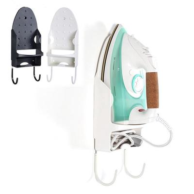 Wall-Mounted Iron Holder with Hanging Hook for Ironing Board Storage Rack Table for Hotel Home Bathroom Organizer White