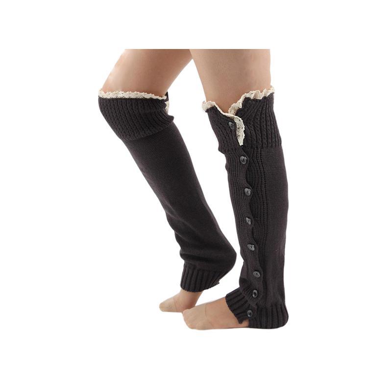 Par de mujeres señora rodilla alta botón tejido Crochet encaje Trim ...