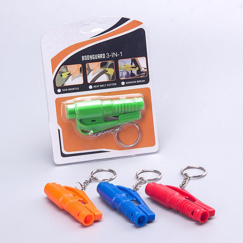 Car keychain Safety Tool Hammer Window Breaker seat Belt Cutter whistle Orange