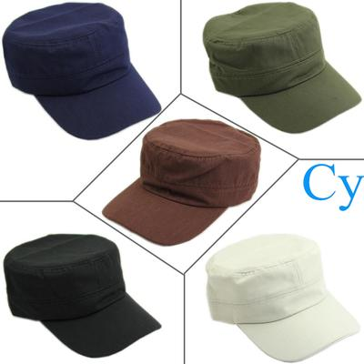 88e700a28a9 Classic Plain Vintage Army Military Cadet Style Cotton Cap Hat Adjustable