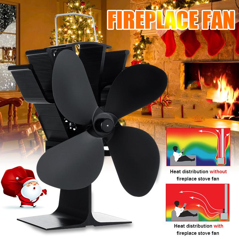 Heat Power Stove Top Fan for Wood Burner Log Burning Fire 4 Blades Eco-Friendly