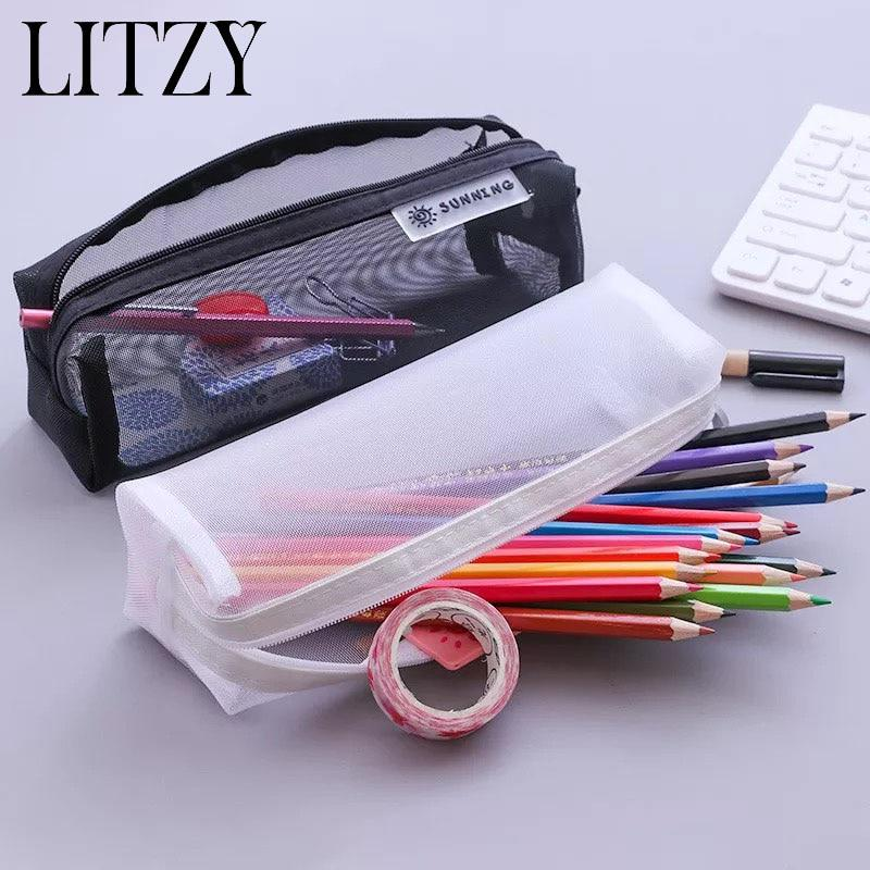 Pencil Case Unisex Black Rubber Feel Back To School Good Quality Fashionable