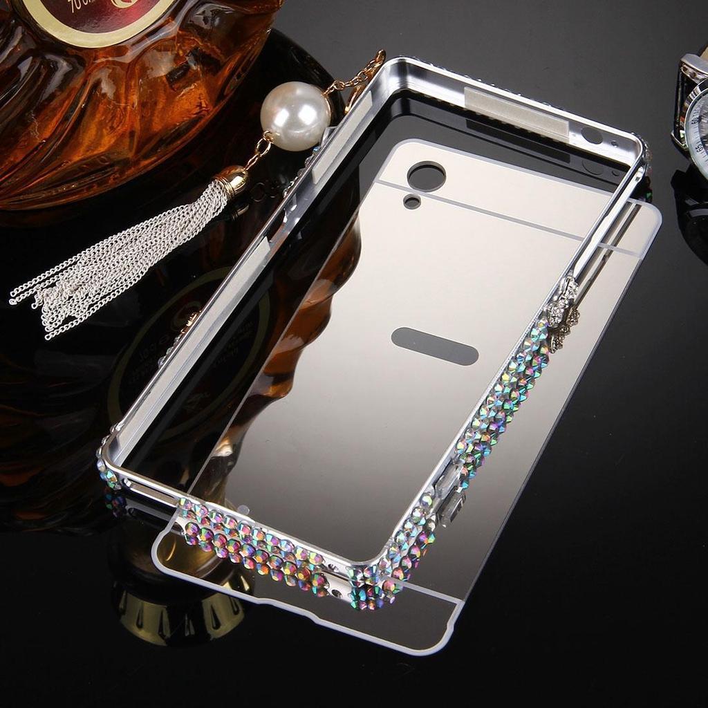 Case Aluminium Bumper Mirror For Sony Xperia M4 Aqua Rose Gold Free M5 Xa Z1 Z2