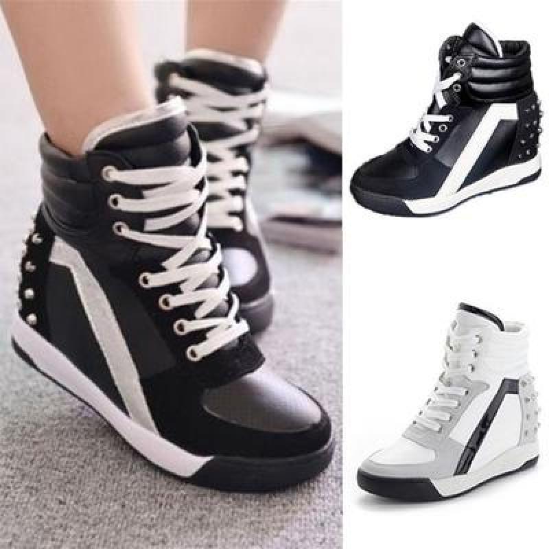 Women Sneakers Sports Rivet Hidden Wedge Heel High Top Shoes