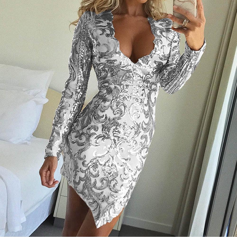 Women Deep V Neck Long Sleeve Colorful Sequins  Bodycon Clubwear Party Dress