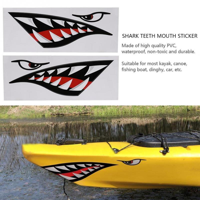 2Pcs Waterproof Shark Teeth Mouth Kayak Canoe Boat Vinyl Decal Funny Sticker