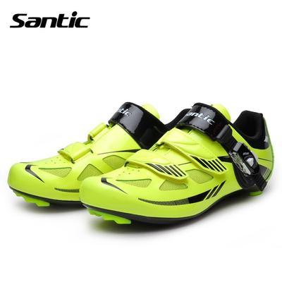 c5c49446e Carretera Santic PU y malla transpirable carretera bicicleta zapatos de  bloqueo automático deporte zapatos equipo verde