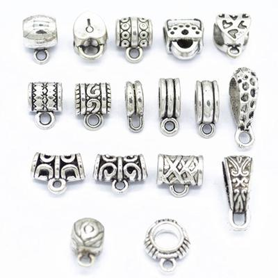 50 pc Antique Silver Tibetan Style Ring Bail Beads Spacers For European Jewelry
