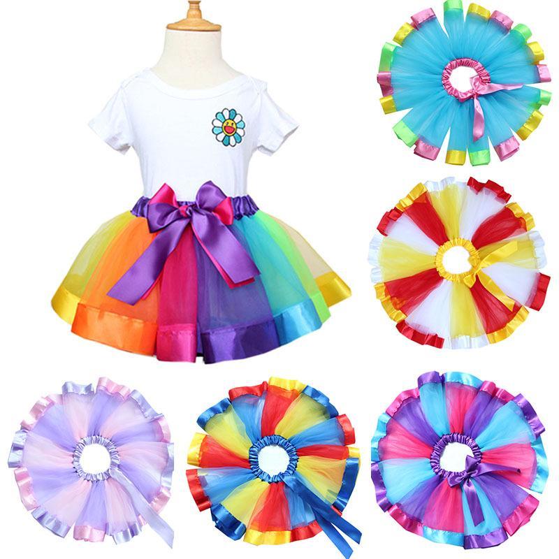 378f1613a Leegoal chicas capas arco iris Tutu Falda arco volantes niños Tutu ...