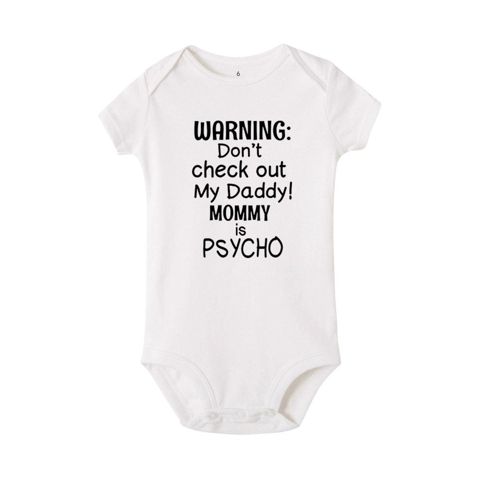 WARNING DON/'T CHECK OUT MY DADDY MUMMY IS A PSYCHO FUNNY BABY GROWS BODYSUIT!