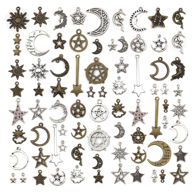 50Pcs Mixed Silver Christmas Pendants For DIY Bracelets Necklace
