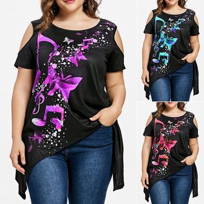 Women Casual Love Printing Short Sleeve Cold Shoulder T-Shirt Irregular Hem Tunic Tops Womens Plus Size Blouse