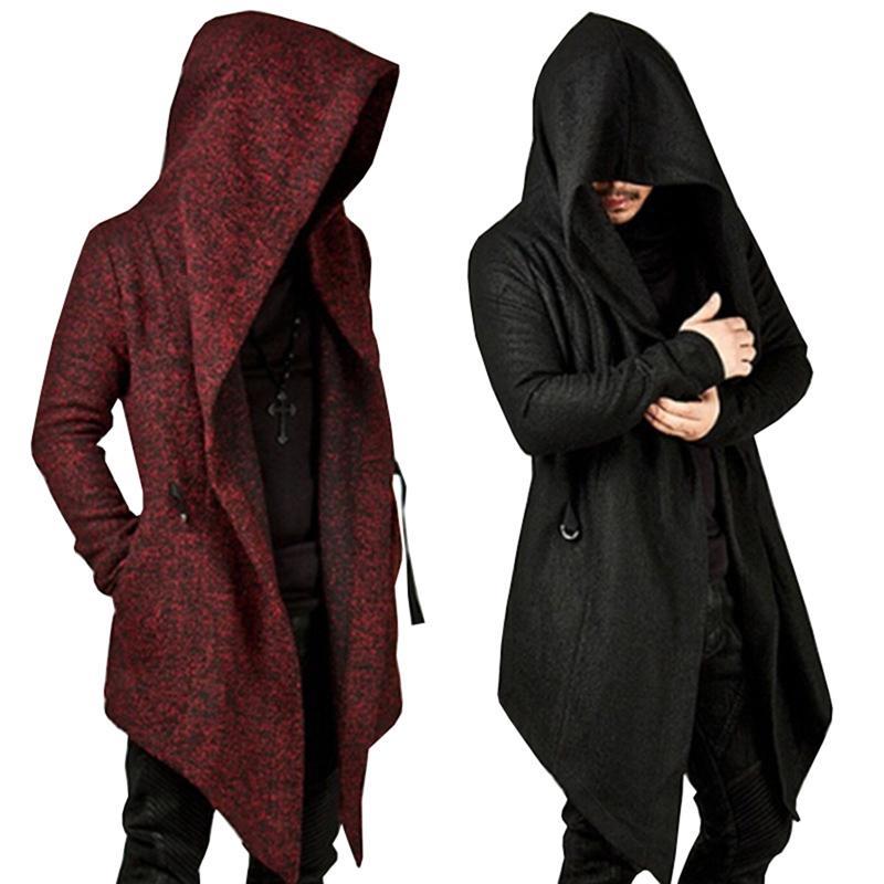 Men/'s Solid Casual Cloak Cape Cardigan Long Sleeve Autumn Hoodie Coat Jackets US
