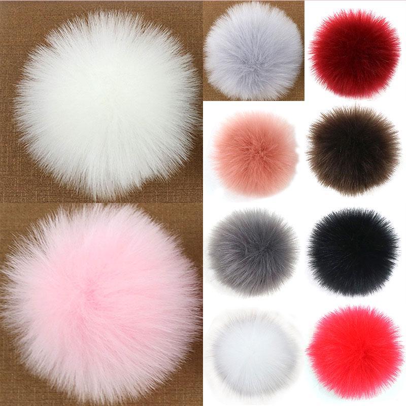 Красочные 10см Faux Мех помпон для женщин вязаные шляпы обувь Cap DIY украшения