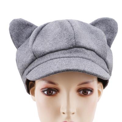 Cat Ear Cap Women Solid Plain Woolen Felt Newsboy Cap Autumn Winter Artist  Painter Beret Hat a5b72aa9b896
