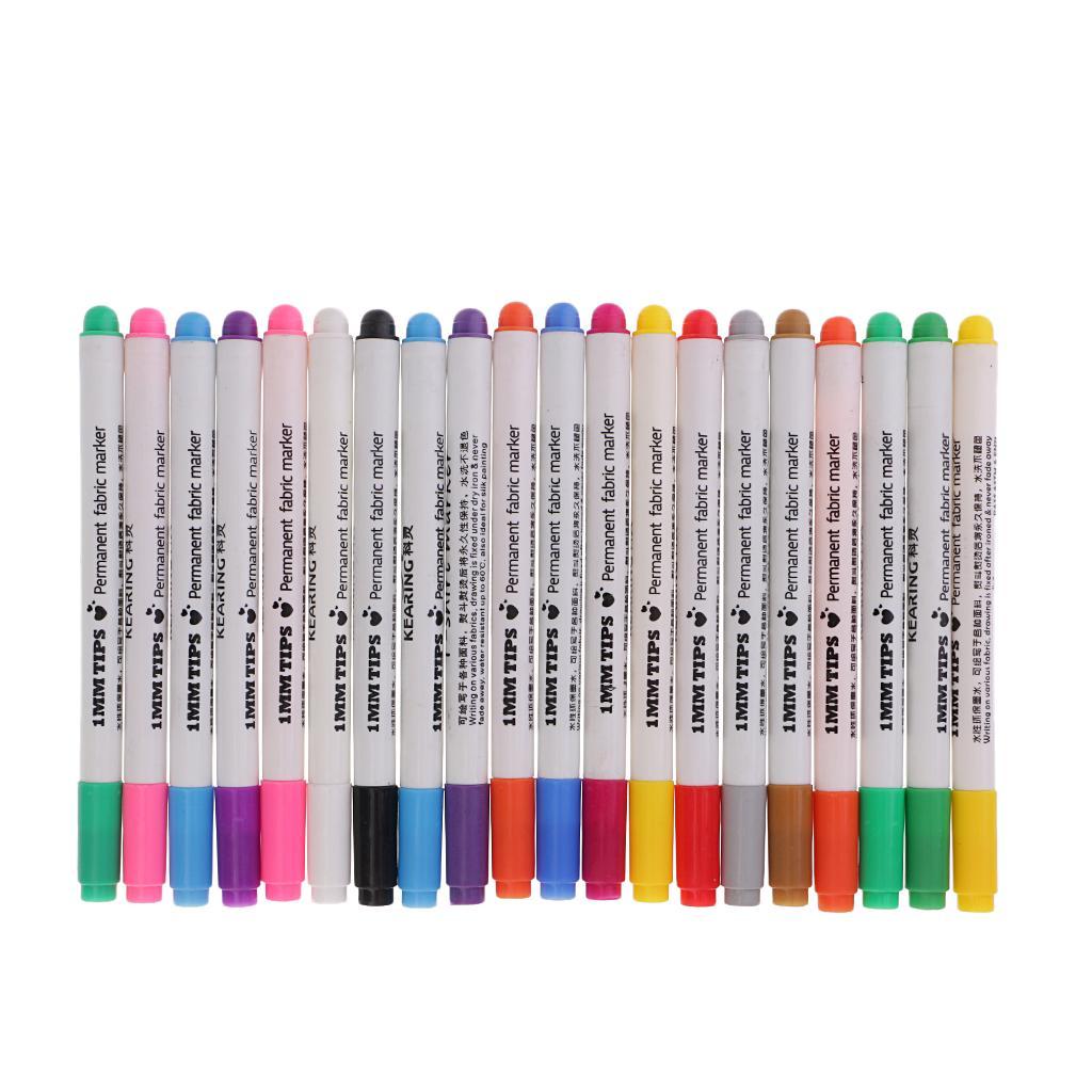 DIY Fabric Markers T-Shirt Permanent Clothes Shoes Textile Paint Pens 8 Colour