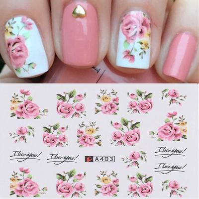 2 Sheets Nail Art Water Decal Transfer Stickers Pink Rose Flower Pattern Tips Buy At A Low Prices On Joom E Commerce Platform