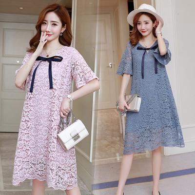 Maternity Dress Summer Long Fashion Short Sleeve Lace