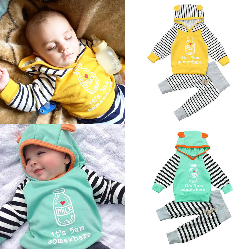 2PCS// Its 5am Somewhere Ear Hoodie Striped Pants Outfit for Newborns