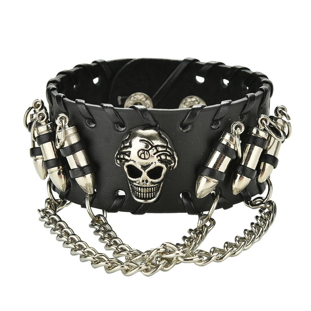Punk Rock 1 fila cráneo Stud Cuero Gargantilla