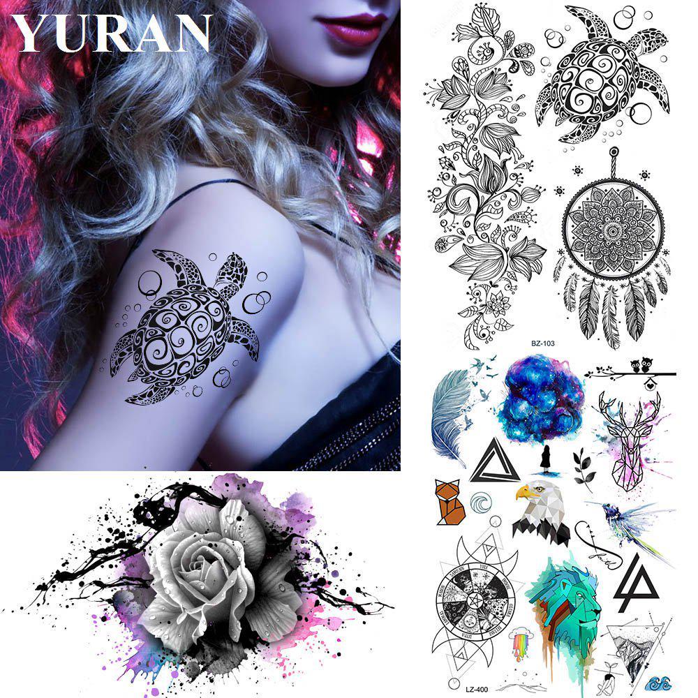 Colibri Tattoo Uomo 1pc tartaruga nero dreamcatcher tatuaggi adesivi falsi impermeabili  temporaneo armare arma