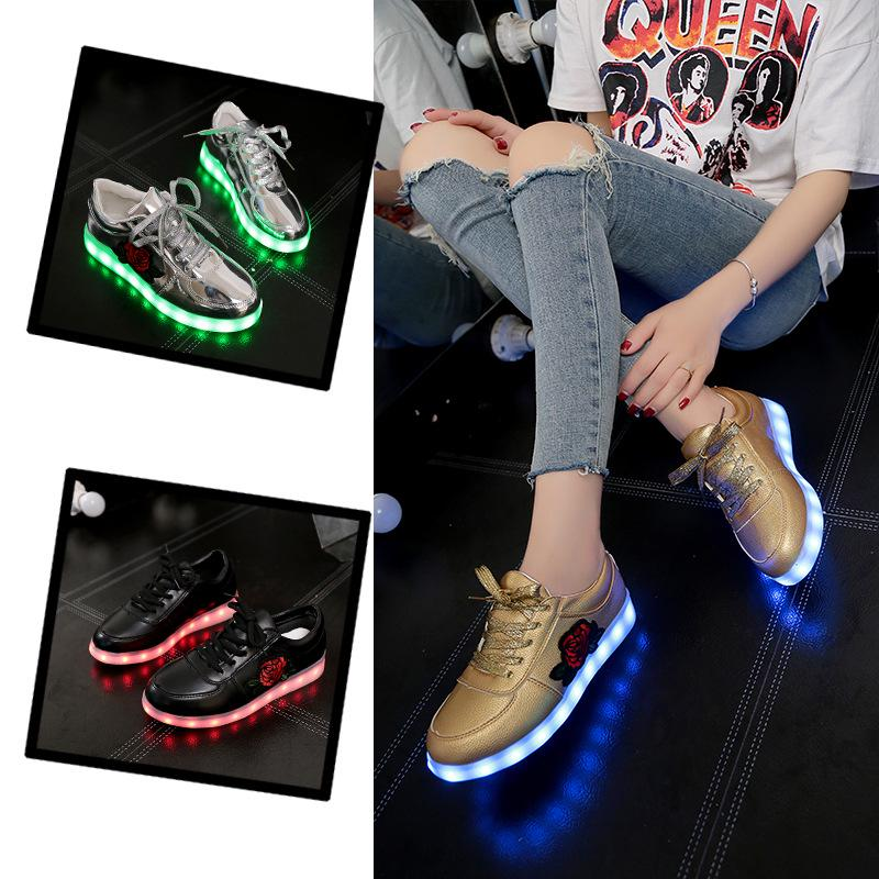 Fashion Women's Colorful Light Up Shoes Cool Led Luminous Shoes Embroidered Casual Sneakers for Girl buy at a low prices on Joom e commerce platform