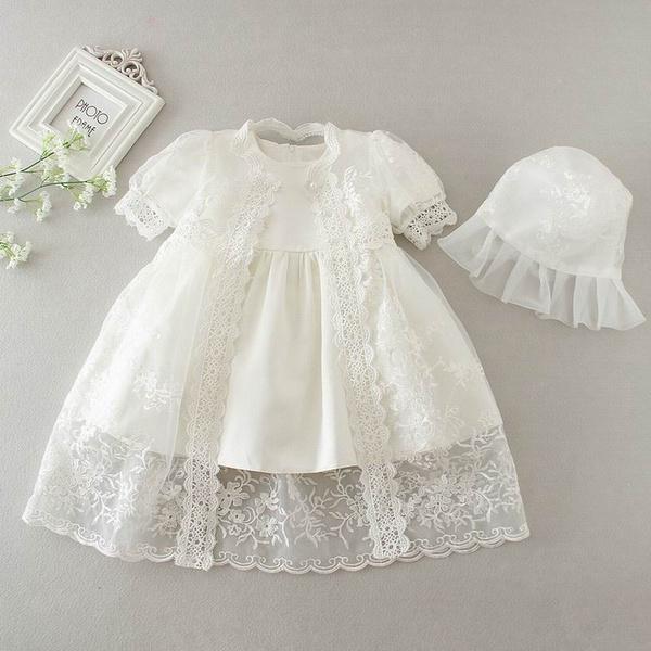 7b5b773bc Chica vestido bebé ropa para bautizo vestido boda llevar manga corta ...