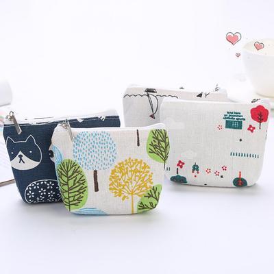 Canvas Cash Coin Purse,Pineapple Green Print Make Up Bag Zipper Small Purse Wallets
