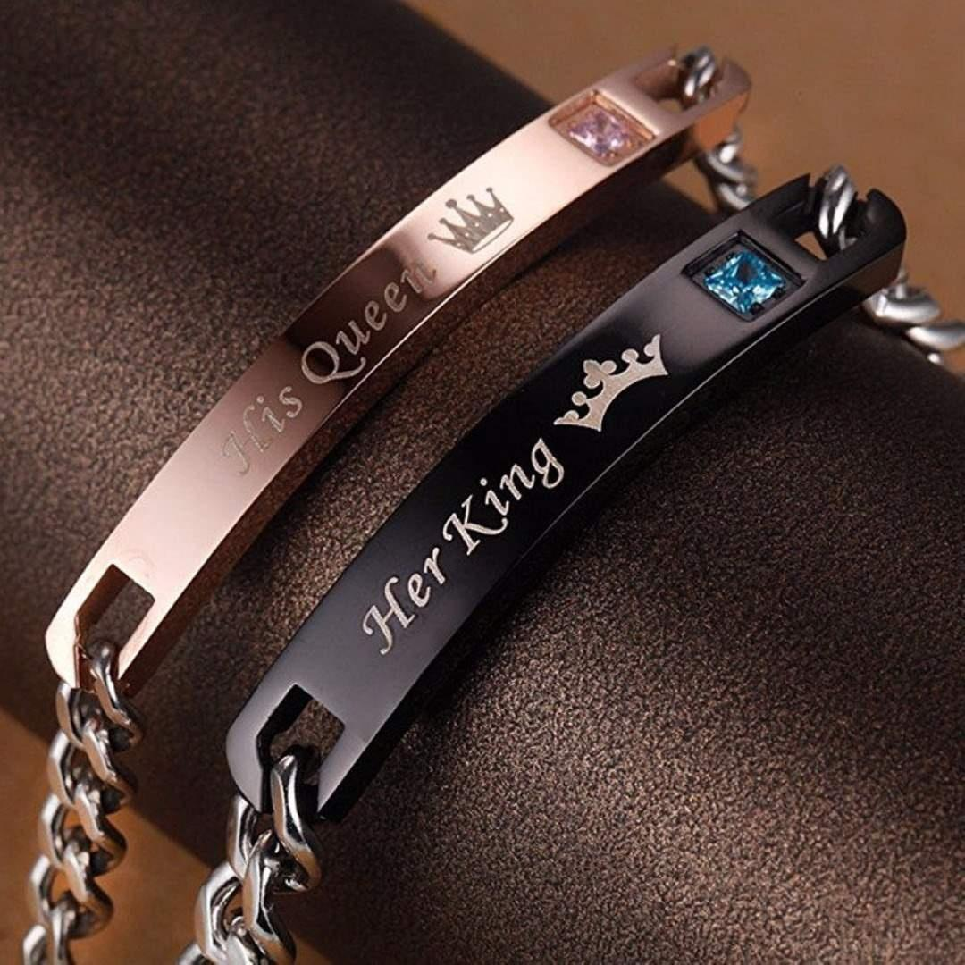 Парные браслеты с надписью Her King His Queen